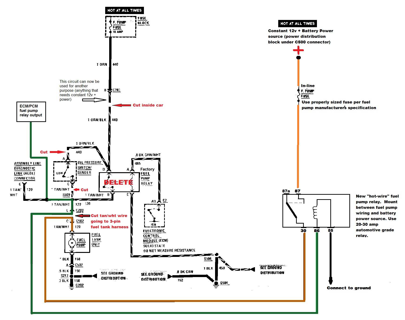 Fiero Fuel Pump Hot Wire Instructions Diagram